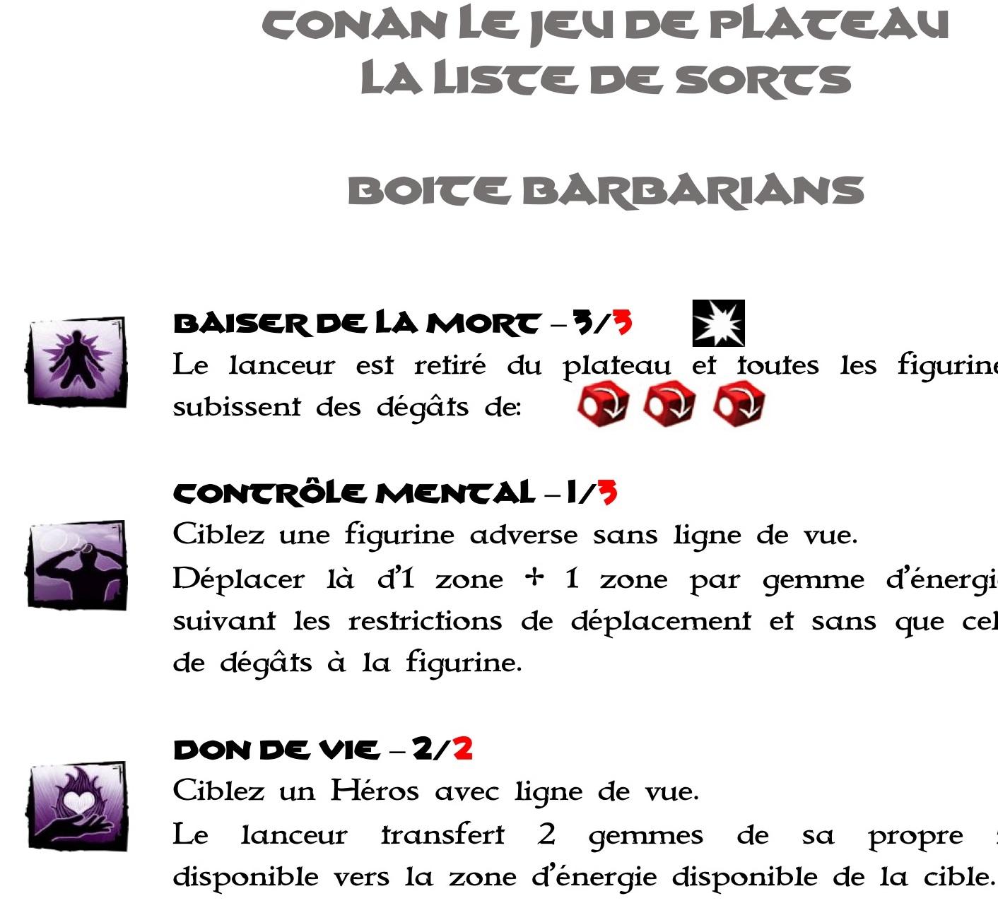 Liste de Sorts et d' Équipements de la Boite Conan Barbarians