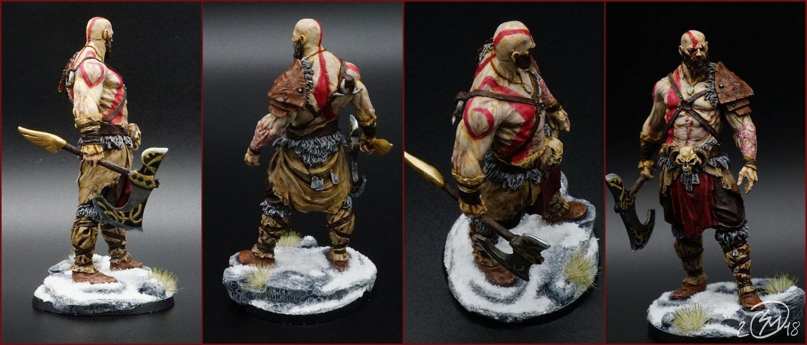 Et voilà, après finition et décoration du socle. Kratos est fin prêt pour le Ragnarök :)