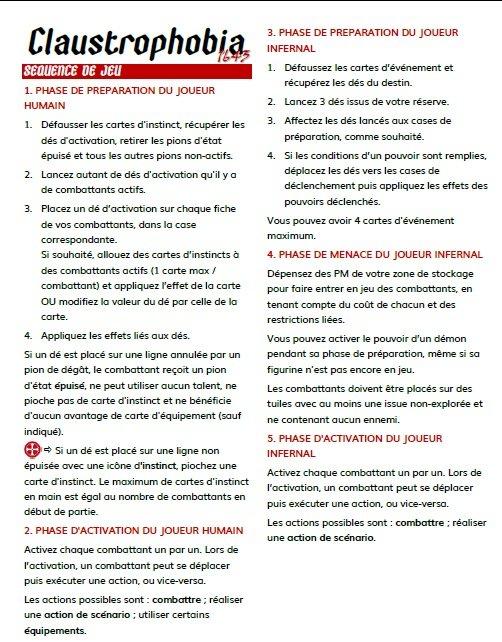 Claustro - Aide de jeu - Résumé des règles
